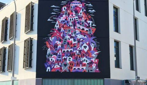 Fresque de GREMS à Pessac pour les Vibrations Urbaines 2017 ©GREMS